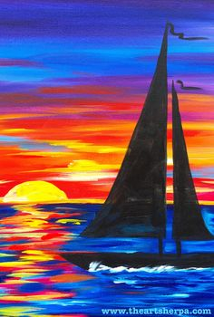 Easy Canvas Sunset Sailboat full tutorial on youtube with the Art Sherpa. This is a full acrylic art lesson for beginners https://www.youtube.com/watch?v=2g6HFOEp-eo