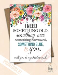 Something Blue Set of Will You Be My Bridesmaid by PeachBloomPaper