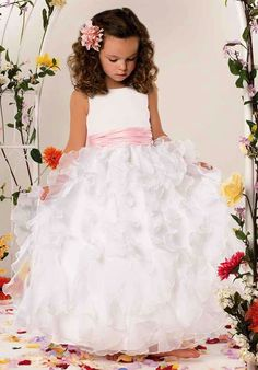 Possible miniature brides dress with silver gitter ribbon at waist instead with small veil and tiara = #PerkinsWedding2017