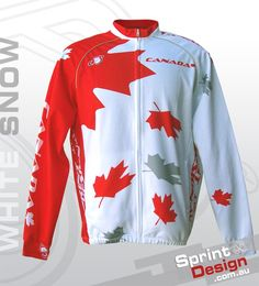 Canada Snow Cycle Jersey. Coolmax style, breathable fabric, anti wicking, anti-bacterial, used on all cycle jerseys.  Duk Corse (Race) is 135gsm. Available in sizes up to 6XL in both unisex and ladies styles.