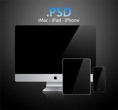 Apple iMac, iPad & iPhone PSD Template