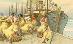 .Vintage Postcard Chickens Sailors Easter Eggs