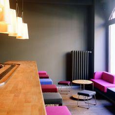 Ginger Bar Zurich - Alfredo Häberli Restaurant Offers, People Sitting, Design Development, Floor Chair, Bar Stools, Interior Design, Architecture, Modern, Table