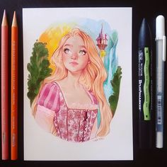 "15.1 mil curtidas, 204 comentários - Sara Tepes | 18 (@sarucatepes) no Instagram: ""Rapunzel  * * * #art #drawing #sketch #sketchy #prismacolor #prismacolorpremier #princess…"""