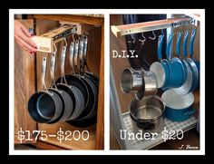 Gliding pan rack. Great invention, but why is it soooo expensive? If you have scrap wood, you only need to purchase a pair of file drawer slides for about $15, and a package of hooks for about $3.