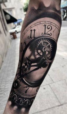 Mens Body Tattoos, Sleeve Tattoos For Women, Tattoo Sleeve Designs, Tattoo Designs Men, Body Art Tattoos, Tattoos For Guys, Cool Tattoos, Time Piece Tattoo, Time Tattoos