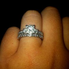 My beautiful engagement ring and wedding ring!