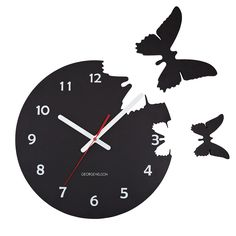 BUTTERFLIES POP OUT CLOCK.  But then that formality begins to break down, and elements of the clock break away to take on a life of their own. Those transformed pieces—numbers for traditionalists, or butterflies for dreamers—leave cutout openings in the clock face, and can be positioned to your liking on the wall. See other pin on this board for the numbers clock. UncommonGoods