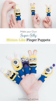 No-sew DIY minions finger puppets including printable template. Make them all as a fun gift idea for the kids for Easter or as Halloween crafts. The step-by-step tutorial is included along with the pattern for five different minions. Diy Minion Birthday Party, Happy Birthday Minions, Birthday Parties, Minion Template, Minion Pumpkin, Minion Banana, Minion Craft, Finger Puppet Patterns, Felt Finger Puppets