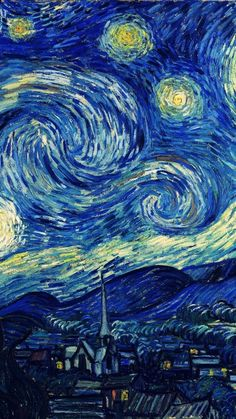 vincent van gogh starry night classic painting art illust iphone6 wallpaper