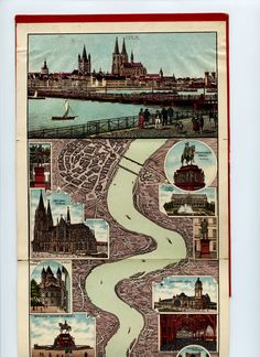 This map is a late example of an early type of tourist map, the so-called Rheinpanorama. It depicts, in overlapping sections, and embellished with postcard-like images of riverside attractions, the most popular stretch of what came to be known as the Romantic Rhine, from Bonn to Mainz.