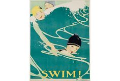 """Reproduction of vintage """"Swim!"""" poster was created by Anita Parker Willcox (1892-1984), a legendary American artist, feminist, and pacifist.   Founded in 1981 in England by Martin Trowbridge, Trowbridge is known for its superior fine-art and antique prints, black-and-white photographs, textiles, and original works in elegant handmade frames."""
