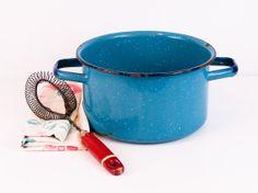 Vintage Teal Blue Enamel Ware Pot with Black Trim and by esther2u2, $22.00