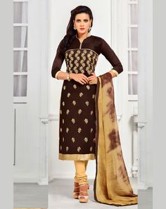 Brown Chanderi Churidar Suit 67990