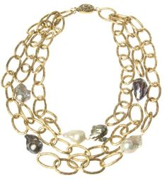Lisa Mackey gold aluminum link necklace with Baroque pearls - super light weight and lovely!