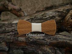 Gaspiwood / Drevený handmade motýlik - maslová farba látky