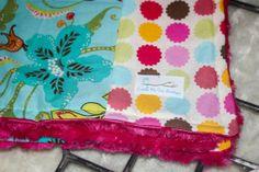 Minky Baby Blanket SALE - Handmade Trendy Flower and Polka Dot