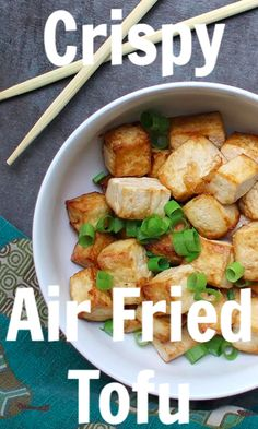 Crispy air fried tofu has the texture of deep fried without having to boil it in oil. The post Crispy air fried tofu has the texture of deep fried without having to boil it in& appeared first on Diet. Best Vegan Recipes, Tofu Recipes, Whole Food Recipes, Vegetarian Recipes, Cooking Recipes, Healthy Recipes, Slow Cooking, Ww Recipes, Cooking Ideas