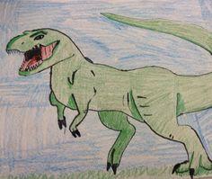 Dinosaur.  Pencil crayon & black marker. Different Media, Create Image, Marker, Pencil, Fictional Characters, Black, Art, Craft Art, Black People