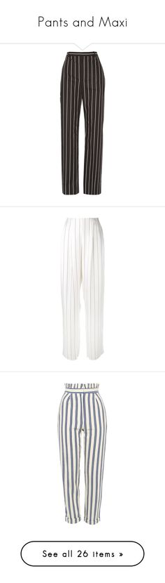 """""""Pants and Maxi"""" by thedailywear ❤ liked on Polyvore featuring pants, trousers, bottoms, jeans, balenciaga, white and black pants, black and white pants, striped pants, striped trousers and white and black striped pants"""