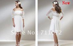 mobile site-Custom Made Charming Sheath Empire Off Shoulder White Soft Chiffon Beach Knee Length Short Wedding Dress