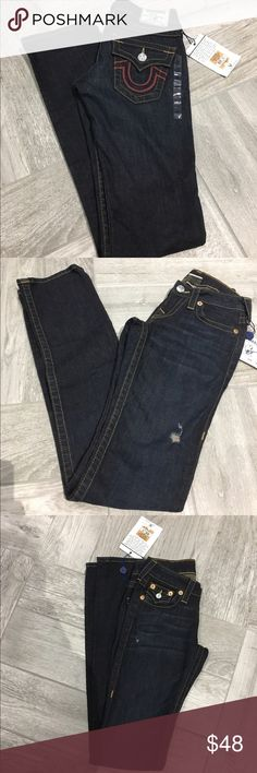 💗NWT True Religion Straight Leg Jeans Brand New with original tag in perfect condition!! Selling super cheap so the price is firm! Straight leg jeans with red leather flap back pockets! Retails for $343 😳❌❌ selling for not even 1/4 of its original cost!! Act Fast! 😉 True Religion Jeans Straight Leg