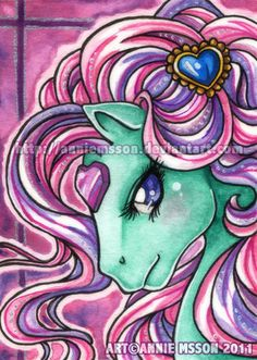 I never done a ATC before so a couple of months ago when me and *Shaiyeh where stuck on a train we decided to make a trade It was a new experience fo. Vintage My Little Pony, Skylark, Special Interest, Atc Cards, Tv Land, Heart Wallpaper, Room Stuff, Over The Rainbow, Horse Art