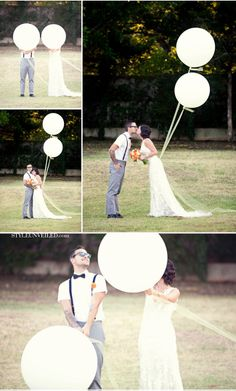 When my hubby proposed, we each had a white balloon that we then tied together and let go--need to take anniversary pics like this!!