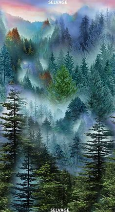 100% COTTON Forest Mountain, Pine Forest, Leaf Border, Autumn Nature, Panel Quilts, Window View, Simple Art, Mists, Dawn