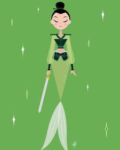 Mulan [as Ping - as a mermaid] (Drawing by HalfyAshy Mulan 3, Disney Princesses And Princes, Pocket Princesses, Cute Disney, Disney Girls, Disney And Dreamworks, Disney Pixar, Walt Disney, Samurai