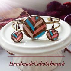 Cabochon Schmuckset Armreif/Armband 25mm und Ohrhänger 12mm Bronze Bunt Geometrisch Holzoptik
