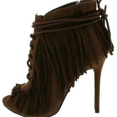 Brown fringe booties Brown suede like fringe lace up booties,5.5in heel,extra long shoe string wraps around ankle,open toe Shoes