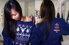 Christmas Tree Sweatshirt Cut Out #upcycled #fashion