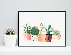 Cactus Print, Printable Art, Cactus Art, Home Decor, Potted Cactus, Watercolor, Succulents, Wall decor, Instant Download Printable Art - This