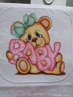 Tole Painting, Fabric Painting, Teddy Toys, Teddy Bear, Brother Innovis, Baby Shower Souvenirs, Small Canvas Paintings, Paint Cards, Pattern Images