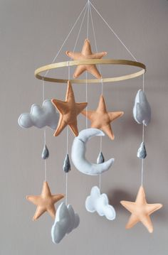 Sky mobile Stars and clouds peach blush baby mobile night sky pastel baby crib mobile nursery moon hanging mobile gift for baby shower
