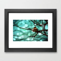 African Bird and Branches Aqua Framed Art Print by minx267 - $32.00