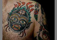 Demon Face Tattoo
