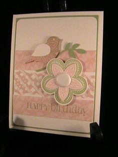 Bird Punch and Triple Treat Flower stamp on Blushing Bride and Pear P.