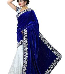 Buy blue embroidered velvet saree With Blouse party-wear-saree online