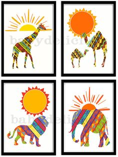 "African Jungle Safari Sunrise to Sunset Modern Nursery Decor Set of 4 Art Prints. 10x8"" on Etsy, $29.95"