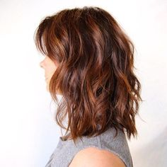 shoulder length wavy auburn balayage bob. Braid or bun wet hair at night and undo in the morning.