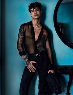 """Jonathan Bellini in """"City of the Gods"""" by Mario Testino for the Vogue Hommes Spring Summer 2017 Issue Mario Testino, Queer Fashion, Androgynous Fashion, Fashion Outfits, Androgynous Girls, Tomboy Outfits, Fashion 2016, Emo Outfits, Daily Fashion"""