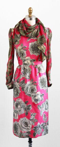 vintage 1960s raspberry + sage green roses silk dress.