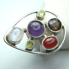 mix stone ring, stone ring, gemstone ring, silver plated  ,cocktail ring, vintage style ring, crystal ring, ring-0314140070