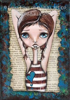Mixed Media Whimsical Big Eye Art Print Pop Surrealism Signed Pondering by Lizzy Love apprx 5x7