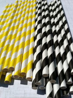 30 Paper Straws.... Yellow and Black Stripe Construction Party Bumble Bee School colors with FREE DIY printable flags. $4.75, via Etsy.
