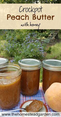 Crockpot Peach Butter with Honey Honey Recipes, Real Food Recipes, Healthy Recipes, Drink Recipes, Dessert Recipes, Slow Cooker Recipes, Crockpot Recipes, Crockpot Peach Butter Recipe, Freezer Recipes