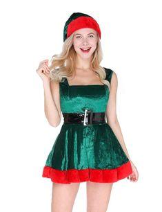 Womens Elf Sexy Costume Christmas Dress Up Hat Belt Xmas Cosplay Gifts For  Him  WomensElfSexy daee0599b6ed