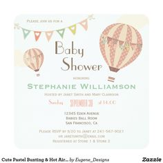 Cute Pastel Bunting & Hot Air Balloons Baby Shower Card Cute Pastel Bunting & Hot Air Balloons Baby Shower by Eugene Designs.